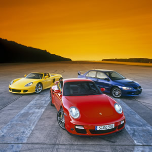 Porsche 997, Carerra GT and Mitsubishi Evo